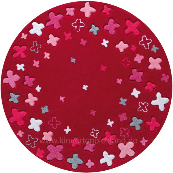 "ESPRIT Kinderteppich ""Bloom Field"" rot rund"