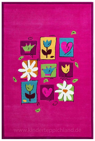 "Theko Kinderteppich ""Flowers on pink"""